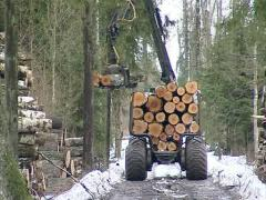 Unload logs trailer Stock Footage