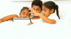 Ethnic Single Mother Children Bedroom Wireless Tablet  Stock Footage