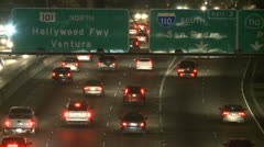 Traffic on the 101 Freeway at Night  Los Angeles - stock footage