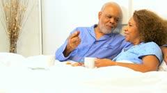 Elderly Ethnic Seniors Breakfast Bedroom  Stock Footage
