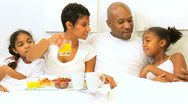 Young Ethnic Family Breakfast Bed  Stock Footage