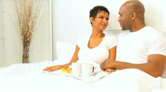 African American Couple Breakfast Bed  Stock Footage