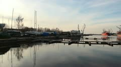 Marina on river side with port on the other side Stock Footage