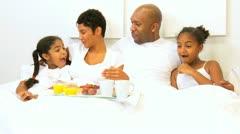 African American Family Weekend Breakfast Bed   Stock Footage
