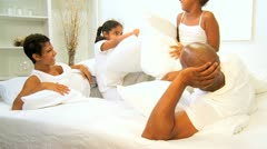 Cute African American Sisters Pillow Fight  Stock Footage