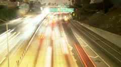 Time Lapse of Streaking Traffic on the 101 Freeway at Night  Los Angeles Stock Footage