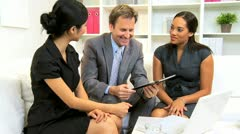 Multi Ethnic Business Executive Office Meeting  - stock footage