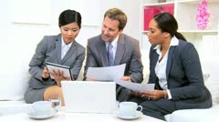 Meeting Three Multi Ethnic Business Colleagues  - stock footage