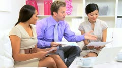Female Asian Chinese Advertising Executive Multi Ethnic Team  Stock Footage