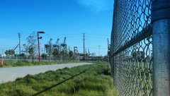 Cranes with fence close Stock Footage