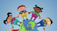 Multiethnic kids around globe Stock Footage
