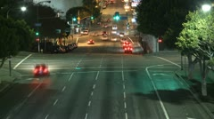 Time Lapse of Traffic at Night in Downtown Los Angeles - stock footage