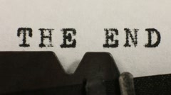 Typing THE END on an old manual typewriter Stock Footage