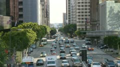 Time Lapse of Busy City Street in Downtown Los Angeles.  Daytime Stock Footage