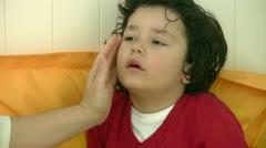 Little sick boy Stock Footage