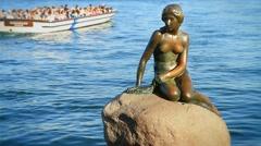 Little Mermaid in Copenhagen Harbor GFHD Stock Footage