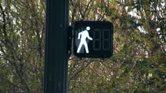 Walking sign counting down straight Stock Footage