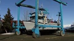 Boatyard Travel Lift Moving Boat 3 Stock Footage