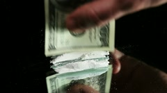Cocaine Heap Formed in Lines with 100 Dollar Banknote Stock Footage