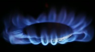 Natural Gas Inflammation in Stove Burner Stock Footage