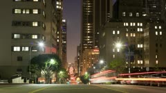 Time Lapse of Busy City Street at Night in Downtown Los Angeles - stock footage