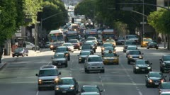 Time Lapse of Busy City Street in Downtown Los Angeles.  Daytime - stock footage