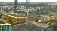 Construction site zoom back, Calgary International Airport Stock Footage
