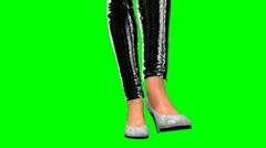Woman's legs walking green screen 2 Stock Footage