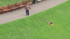 How to Mow a Hill Stock Footage