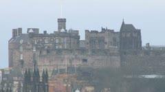 Edinburgh Castle and City Centre Stock Footage