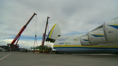 Aircraft, Antonov AN225 fuselage and tail pan - stock footage