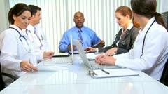 Financial Advisor Congratulating Team Medical Consultants  - stock footage