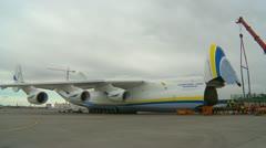 Aircraft, Antonov AN225 big dolly shot across tarmac Stock Footage
