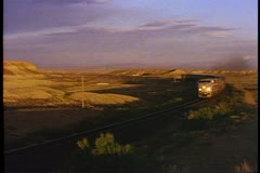 "Amtrak's ""California Zephyr"", Classic Streamliner Train shot, pass by  high mesa Stock Footage"