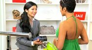 Female Paying Goods Small Boutique  Stock Footage