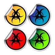 Radiation warning stickers Stock Illustration