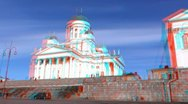 Stereoscopic 3D Helsinki 23 - Lutheran Cathedral Stock Footage