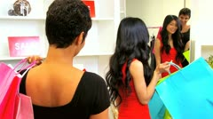 Multi Ethnic Girlfriends Shopping Designer Outlet   - stock footage