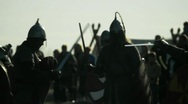 Knightly Figure. Unarmed Combat. Armed Forces. Battlefield. Stock Footage