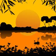 Sunset on a lake scene Stock Illustration