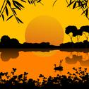 Stock Illustration of sunset on a lake scene