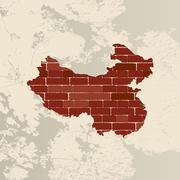 China wall map Stock Illustration