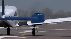 Light aircraft taking off from behind. Away from viewer Stock Footage