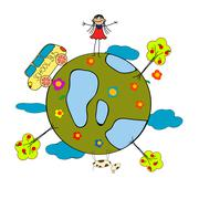 childlike drawing - stock illustration