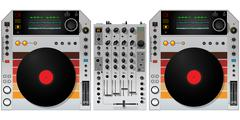 dj turntables and mixer - stock illustration