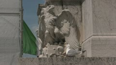 Eagle Statue and Real Seagull Stock Footage