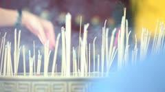Praying incense Stock Footage