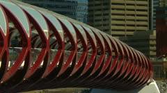 Santiago Calatrava designed Peace bridge, Calgary zoom Stock Footage