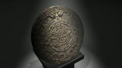 Cgi Aztec calendar over a pillar, ancient. Stock Footage