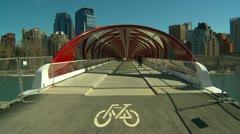 Santiago Calatrava designed Peace bridge, Calgary, #2 Stock Footage